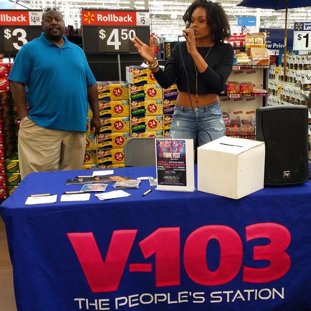 Demetria McKinney and V103 giving away tickets o Funk Fest at Walmart - V103