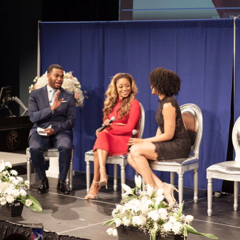 Phill Taitt, Latavia Roberson and Demetria McKinney attend The Phill Taitt Show - Dream Reach Inspire