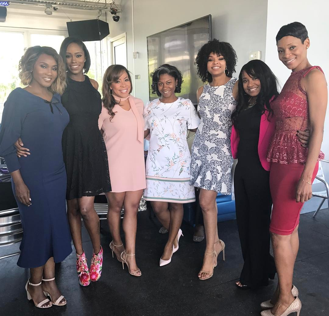 "Carla Stephens, Reece Odum, Xaviera, Dedra Allen and Monica Elam attend Demetria McKinney's 2nd Annual ""Because Of You"" Pre-Mothers Day Brunch"