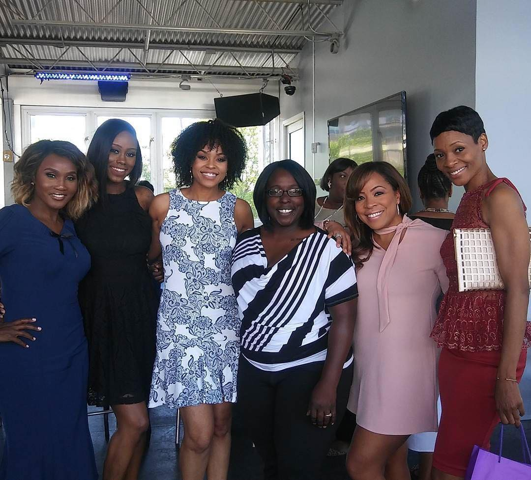 "Carla Stephens, Reece Odum and Dedra Allen attend Demetria McKinney's 2nd Annual ""Because Of You"" Pre-Mothers Day Brunch"
