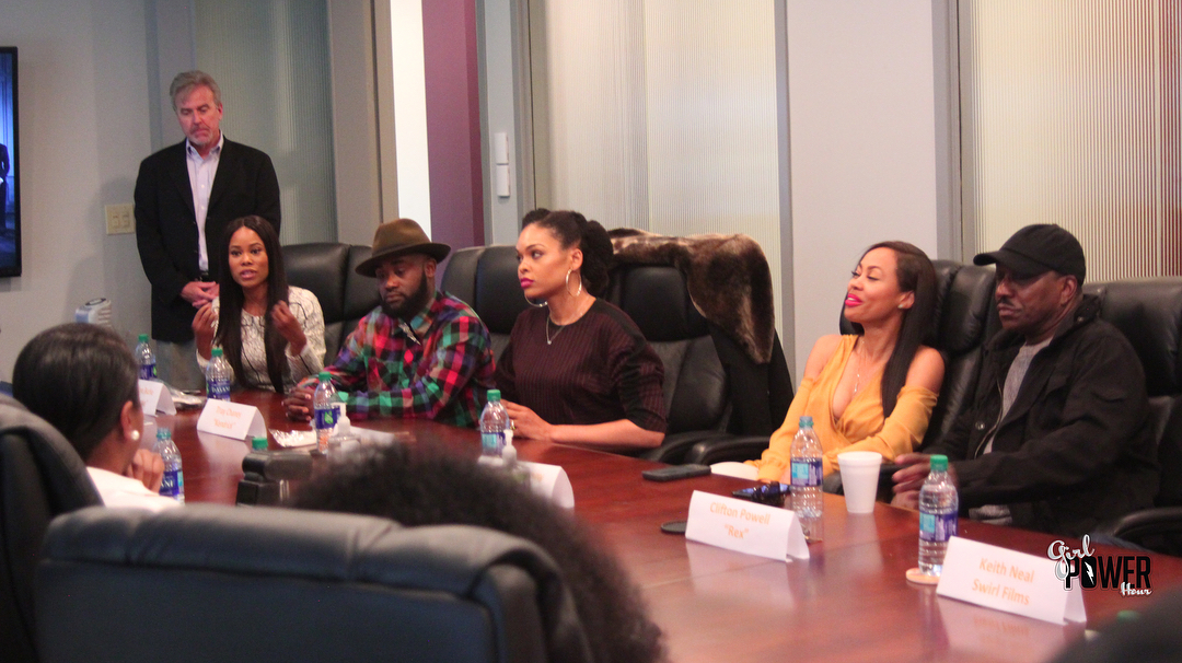 Jasmine Burke, Tray Chaney, Demetria McKinney, Dawn Halfkenny and Clifton Powell attend 'Saints and Sinner' Media Roundtable