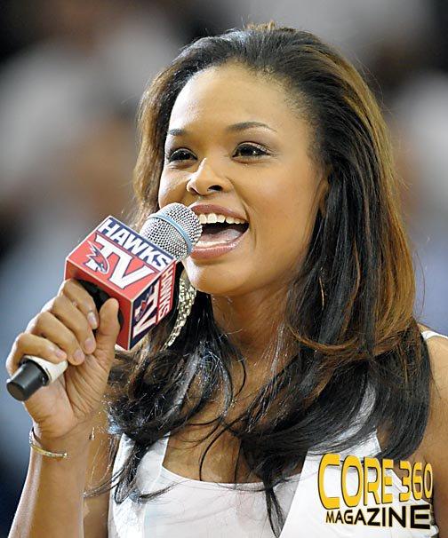 "Demetria McKinney Sings The National Anthem At The ""Hawks vs Bucks"" Game"
