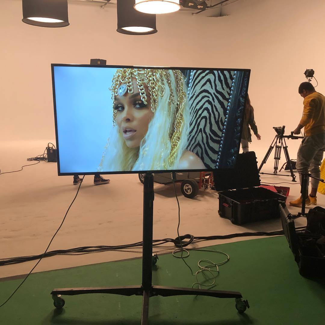 "Demetria McKinney on set of her music video ""Crown"" on December 9, 2018"