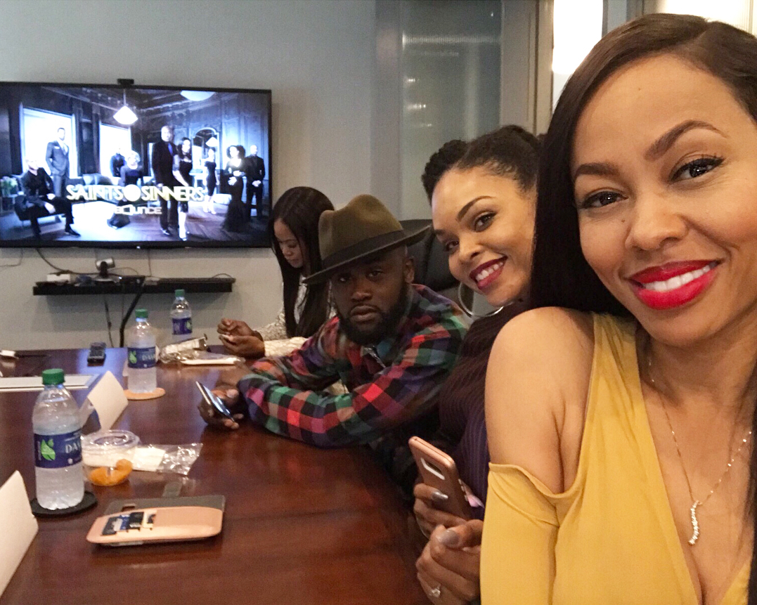 Jasmine Burke, Tray Chaney, Demetria McKinney and Dawn Halfkenny attend 'Saints and Sinner' Media Roundtable
