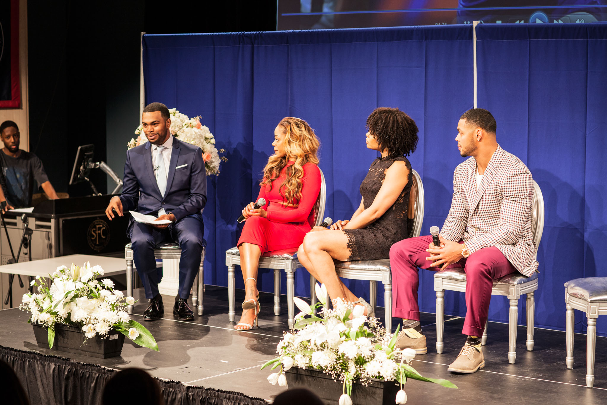 Demetria McKinney, Latavia Roberson and Johnathan Casillas attend The Phill Taitt Show - Dream Reach Inspire