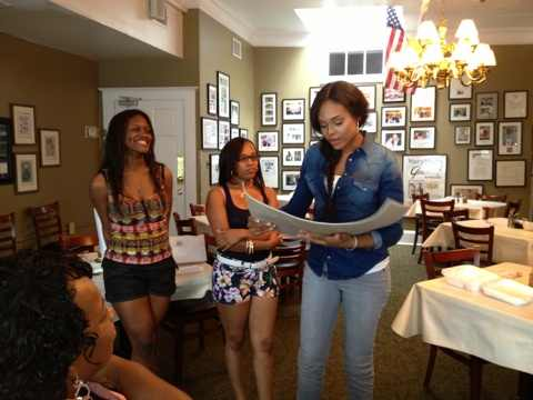 "Chelby And Iesha Marie's ""Unforgettable Moment' with Demetria McKinney At ""Mary Mac's Tea Room"" on August 5, 2013"